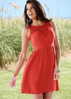 Bayan Kırmızı Yazlık Elbise Modelleri